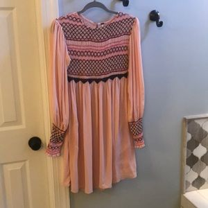 Free People Pink Embroidered/Smocked Dress